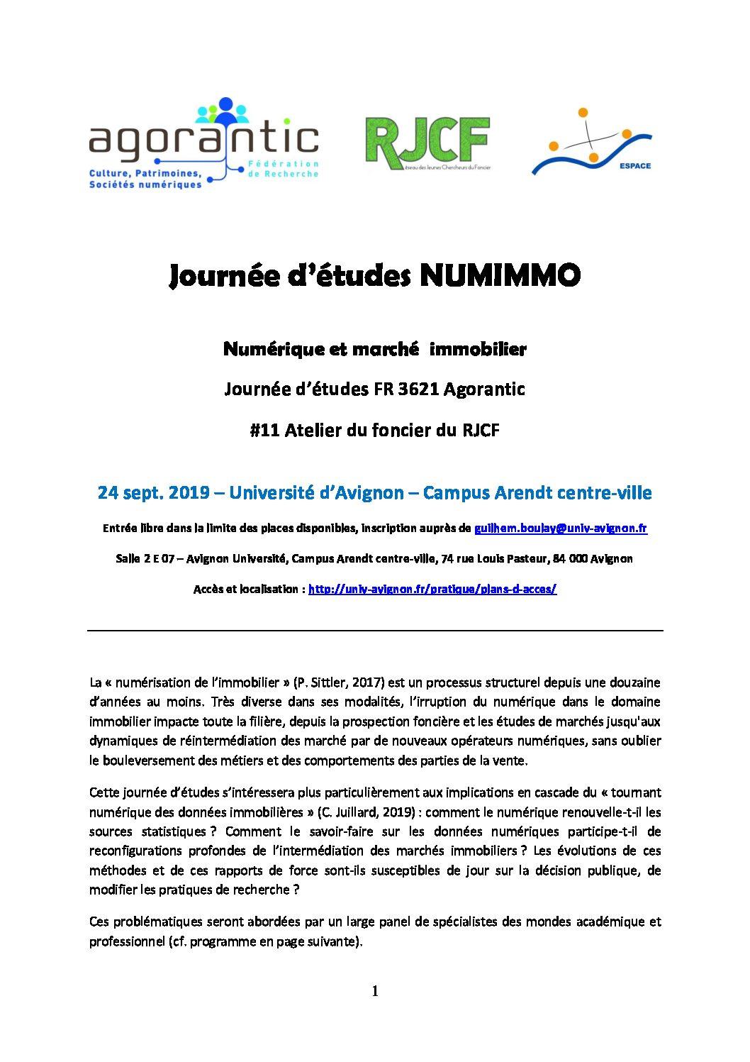 Numerique et marchés immobiliers : les chercheurs se réunissent à Avignon le 24 septembre prochain